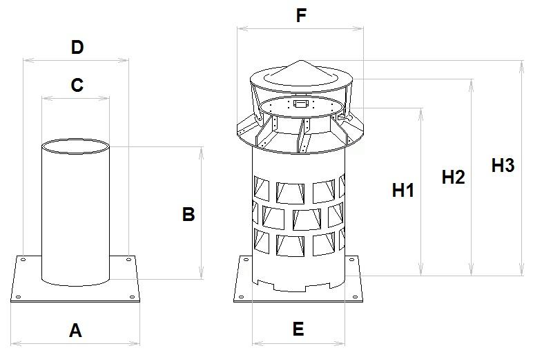 Rozměry komínového nástavce EKON pro zvýšení tahu komínu