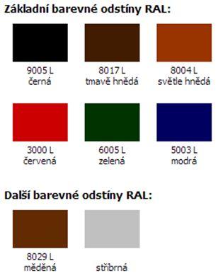 Základní barevné odstíny RAL pro komínové nástavce EKON pro zvýšení komínového tahu