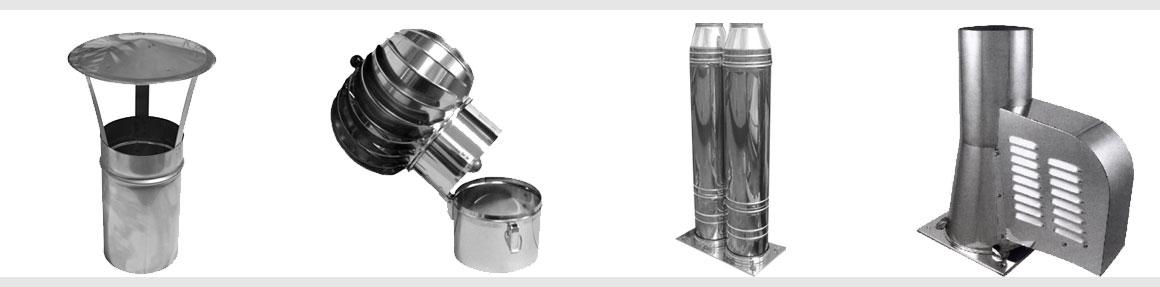 Komínové stříšky, hlavice, nástavce a ventilátory